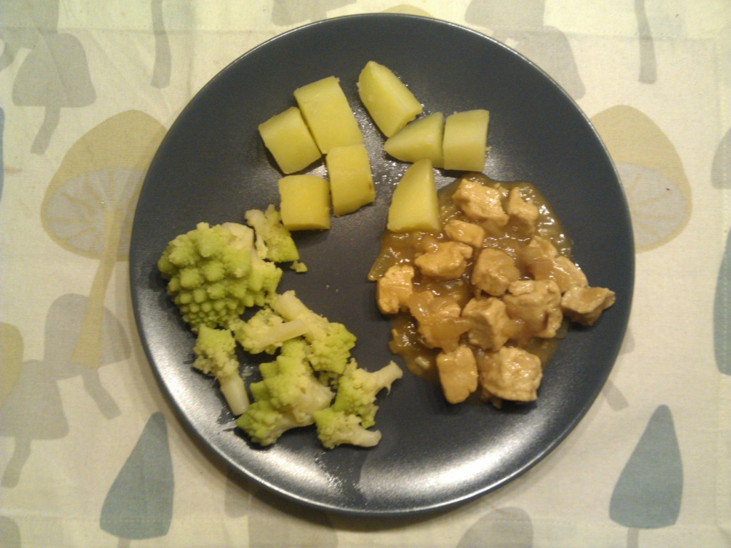 Quorn with onion gravy, romanesco and potatoes