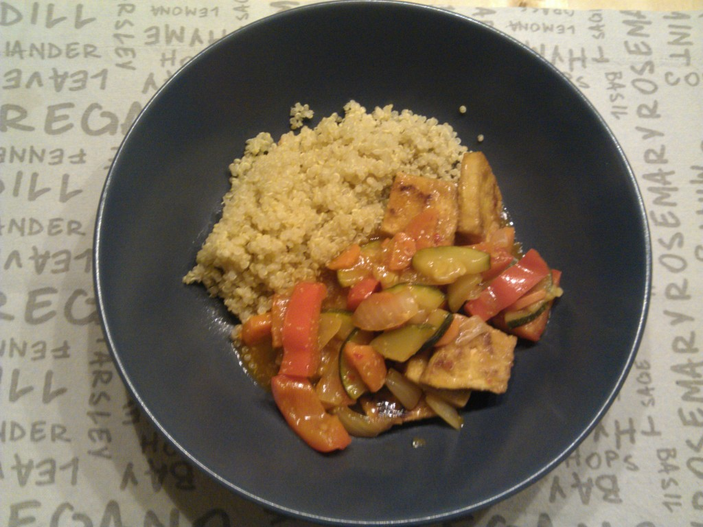 Sweet and sour tofu with quinoa