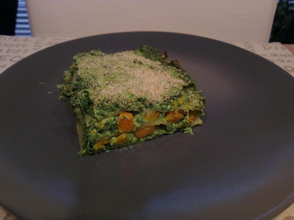 A half serving of Spinach pumpkin lasagna