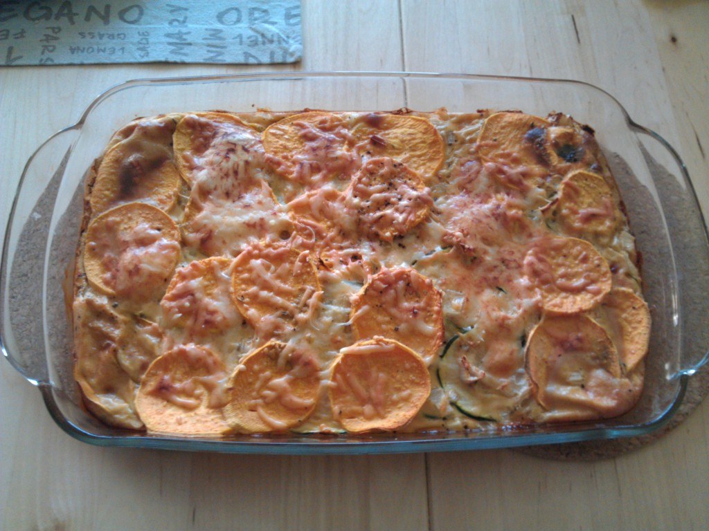 Courgette sweet potato quiche