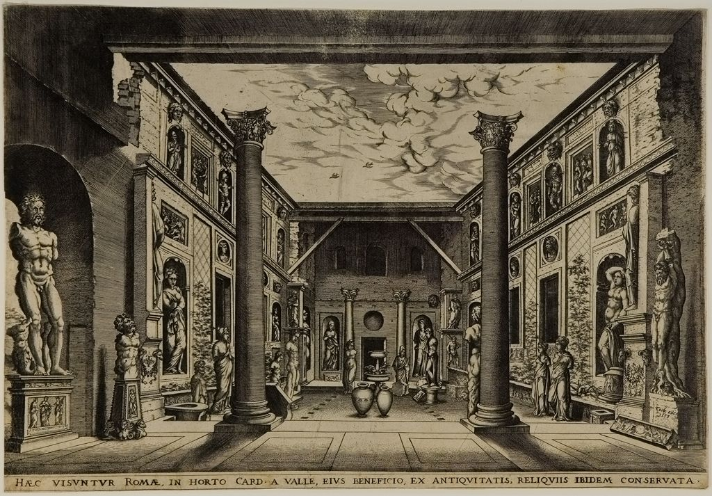 The Statue Court of the Palazzo Valle Capranica, 1553. Maarten van Heemskerck, (1498 - 1574). Printed by Hieronymus Cock, Flemish (Antwerp 1510 - 1570 Antwerp)