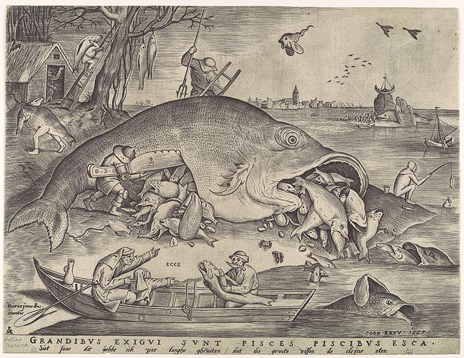 """Pieter van der Heyden after Pieter Bruegel the Elder: Big Fish Eat Little Fish (17.3.859)"". In Heilbrunn Timeline of Art History. New York: The Metropolitan Museum of Art, 2000–. http://www.metmuseum.org/toah/works-of-art/17.3.859 (October 2006)"