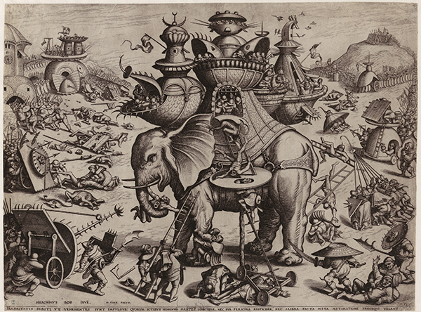 Hieronymus Cock © Joannes and Lucas Van Doetecum after Allart Duhameel, The Siege of the Elephant, c. 1563 © Royal Library of Belgium